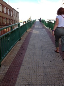 Leaving the city, another foot bridge,  up and over