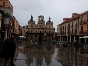 In Plaza Major, clock on top