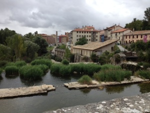 On the bridge into the city of newer Pamplona