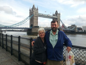 The two of us in front of Tower Bridge.