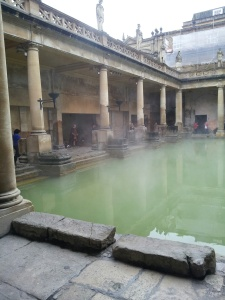 The baths, water is green because the baths were I closed in roman times, now they are open to the sun
